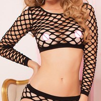 New Sexy Swinger Fence Net Long Sleeved Cropped Panties Set LC4247