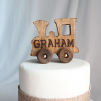 Old-fashioned Wood Toy Engine Train with Name Cake Topper, Vintage Look, Varnish, Over The Top Cake Topper, Engraved