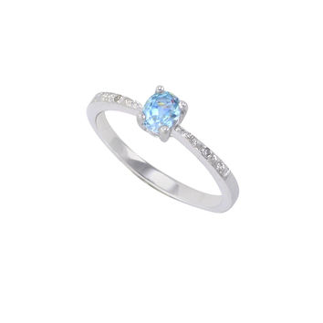 Sterling Silver .01ct Genuine Diamond Ring with Blue Topaz Stone Rectangle 5x4mm