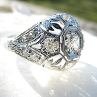 Edwardian Diamond Ring, Fiery Old European Cut Diamonds, Platinum Leafy Filigree, Beautiful Engraving