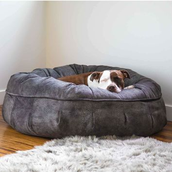 Faux Suede Leather Puff® Luxury Dog Bed