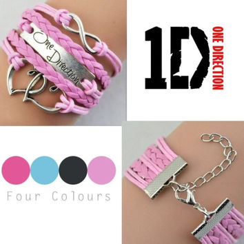 One direction jewellery, 1D, leather bracelet, suede bracelet, Infinity, love, heart bracelet