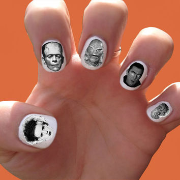 Classic Horror Movie Monsters // Frankenstein // Halloween // Dracula // Nail Decals Transfer Nail Stickers // Freddie Kreuger