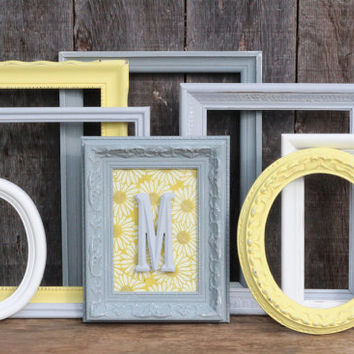 Baby Girl Nursery Decor / Gender Neutral Baby Nursery Decor / Monogram / 8 Piece Distressed Picture Frame Set /  Belmont Collection