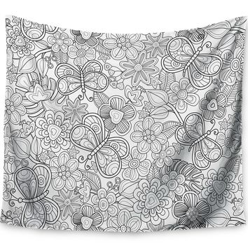 My Butterflies and Flowers by Julia Grifol Wall Tapestry