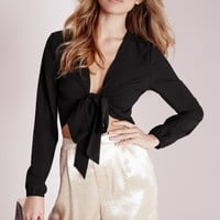Missguided - Tie Front Cropped Blouse Black