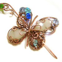 Shawl Pin, Scarf Pin, Copper brooch, agate Brooch Pin, Wire Wrapped Artisan Jewelry,  butterfly, crystals, boho. FREE SHIPPING !
