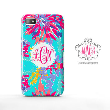 Trippin and Sippin Lilly Pulitzer Monogram Blackberry Case Z10, BB Q10 Case
