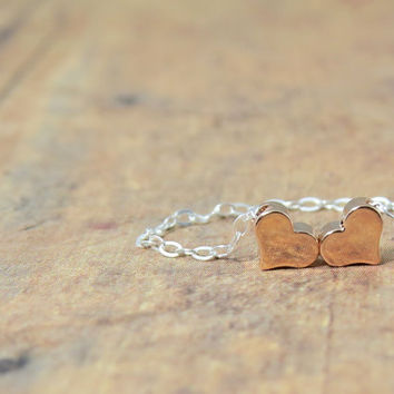 Two Hearts, Valentine's day or mothers necklace, two tiny hearts on chain, heart charms on sterling silver necklace, rose gold hearts