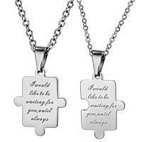 Jigsaw Puzzle Korean Connecting Couple Necklace Set - GULLEI.COM