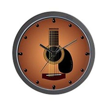 "CafePress - Acoustic Guitar Sunburst - Unique Decorative 10"" Wall Clock"