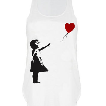 Banksy girl with heart balloon print urban Tank top vest womens ladies tshirt