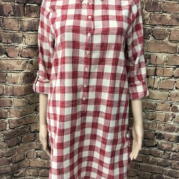over sized plaid flannel half button down dress