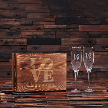 Personalized His and Hers Mr. and Mrs. Champagne Glass With Wood Gift Box