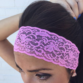 Yoga Headband in Metallic Pastel Orchid