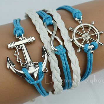 Christmas Gift, Rudder Infinity Anchor Bracelet, Navy wax Cords, Navy Rudder, White Braided leather cords, Blue Style CB-10-1