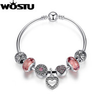 Aliexpress Hot 925 Silver Pink Heart Charm Bangle For Women Fashion DIY Beads Fit Original Pandora Bracelet Jewelry Lover's Gift