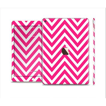 The Pink & White Sharp Chevron Pattern Skin Set for the Apple iPad Air 2