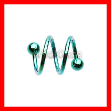 Double Twist Spiral 16g Cartilage Earring Twist Piercing Barbell 14g Tragus Jewelry Helix Earring Rook Piercing Lip Piercing Nipple Ring