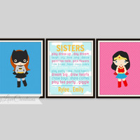 Sisters Prints - Superhero Sister Prints, Set of 3-8x10 Prints,  Girl Superhero Decor, Super Girls Playroom, Girls Room Decor, Typography