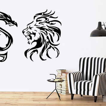 TRIBAL LION VS DRAGON Decor Wall MURAL Vinyl Art Sticker M094