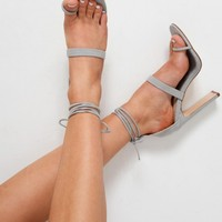 GREY FAUX SUEDE TOE RING LACE UP HEELS - STACIA