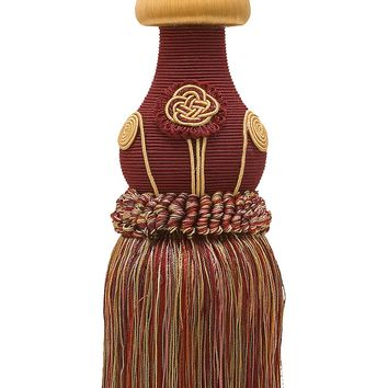 """Decorative WINE GOLD Curtain & Drapery Tassel Tieback /12"""" tassel, 32"""" Spread (embrace), 7/16"""" Cord, Baroque Collection Style# TBBL-1 Color: Autumn Leaves 5716"""
