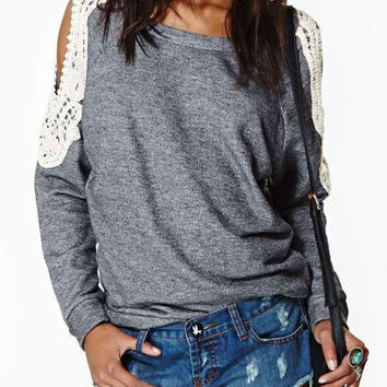 Gray Crochet Lace Sleeve T-shirt