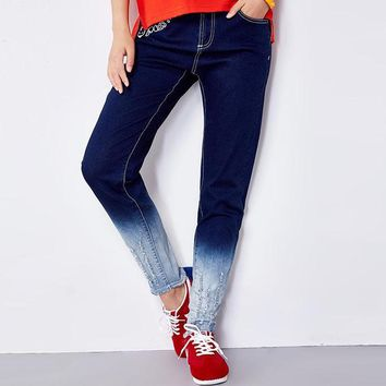 New Boyfriend Jeans For women Mid Waist Jeans Loose Elastic Cotton Jeans Causal Full Length Jean Gradient Color