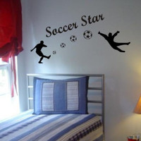Soccer Players Shooting Goal Decal Sticker Wall