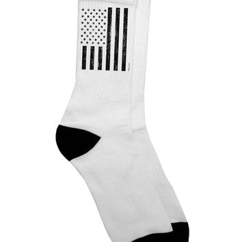 Stamp Style American Flag - Distressed Adult Crew Socks  by TooLoud