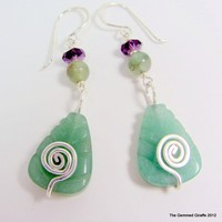 Green Aventurine Leaf and Amethyst with Handcrafted Earwire
