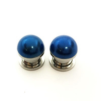 Blue pearl plugs / 2g, 0g, 00g, 1/2 inch / wedding plugs / wedding gauges / pearl gauges / bridesmaid jewelry / blue plugs