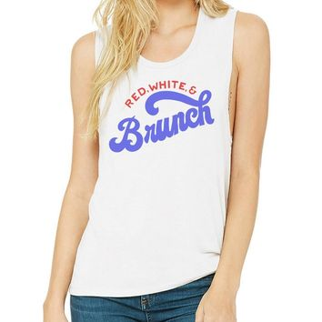 Red, White and Brunch Muscle Tank