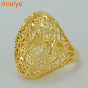Anniyo Ring for Women,Gold Color Ethiopian Wedding Ring/Arab Items/Africa Jewelry/Nigeria/Middle East #012402