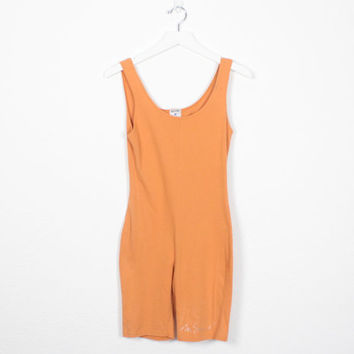Vintage MOSCHINO Romper Faded Orange Bodycon One Piece 1990s Moschino Jeans Playsuit 90s Stretch Designer Jumper Shortalls S Small M Medium