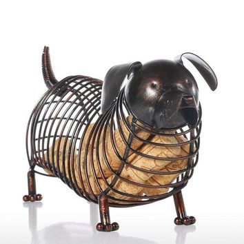 ONETOW Iron Dachshund Wine Cork Container