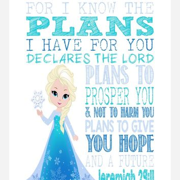 Frozen Christian Princess Elsa Nursery Decor Wall Art Print - For I Know The Plans I Have For You - Jeremiah 29:11 Bible Verse - Multiple Sizes