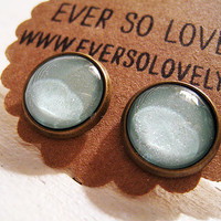 pale mint mojito green sparkly metallic nickel free earrings by eversolovely