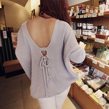 Fashion backless deep v-neck sweater top