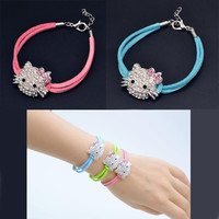 2016 New Design Cute Children Hello Kitty Bracelet Girl Jewelry Bracelet For Kids&Lady  KT Cat Bracelets For Girl  Fine jewelry