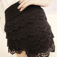Black Shorts - Vintage High Waist Tiered Lace | UsTrendy