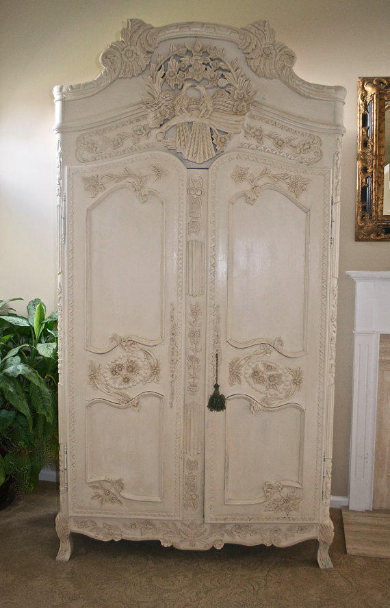 Antique Shabby Chic French Armoire Carved from ...