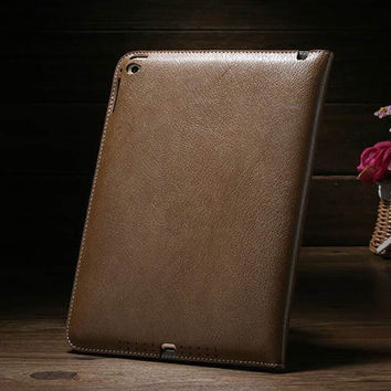 For Apple iPad Air 2/iPad 6 Book Style Business Wallet Flip Cover Genuine Leather Hand Holder Vintage Protective Case Stand