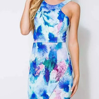 Abstract Printed Sleeveless Low Cut Back Bodycon Dress