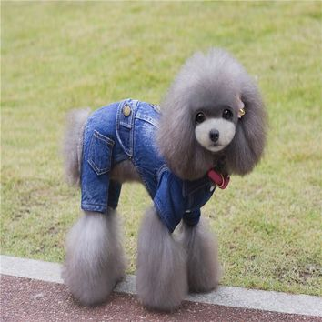 New Leisure Jeans Dog Clothes Fashion Denim Jacket Pet Coat Autumn Winter Cowboy Costume Clothing For Yorkshire Chihuahua Teddy