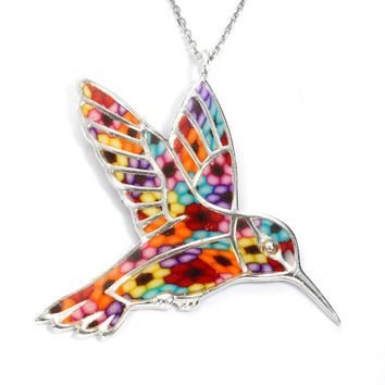 Colorful Hummingbird Pendant - Handmade Polymer Clay Necklace - Millefiori Jewelry - FREE SHIPPING