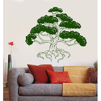 Vinyl Wall Decal Bonsai Japanese Art Tree Asian Style Stickers Unique Gift (1364ig)
