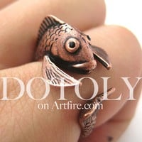 Fish Koi Sea Animal Wrap Around Ring in Copper - Sizes 4 to 9 Available