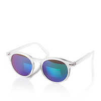 Matte Acrylic Mirrored Sunglasses Clear/Blue One